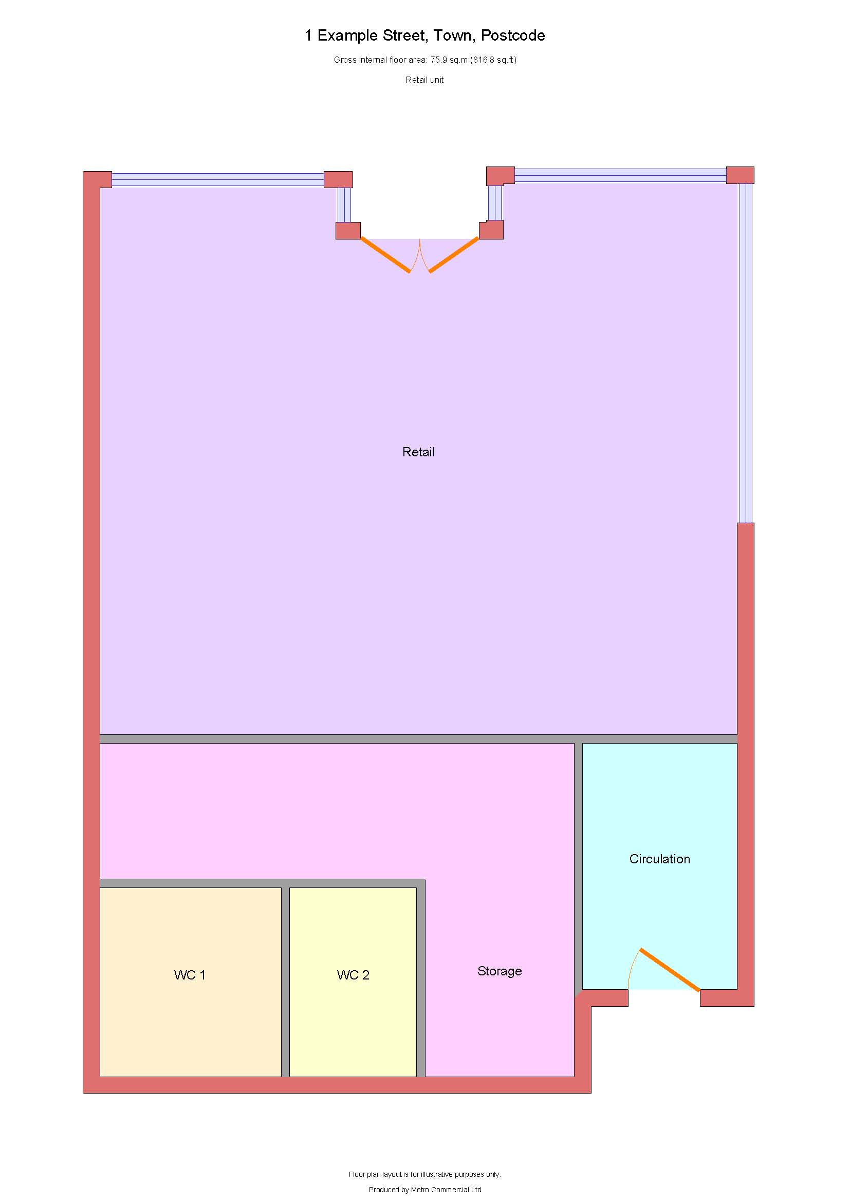 Floor plan example in colour